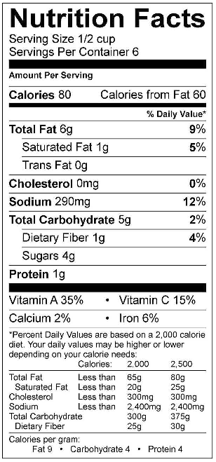 Traditional Sauce Nutrition Facts