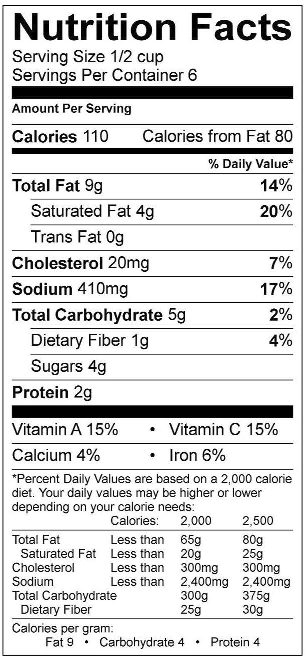 Vodka Sauce Nutrition Facts